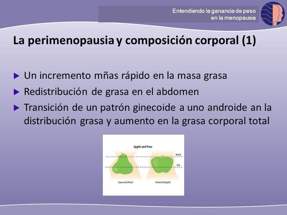 Understanding ganancia de peso at menopause La perimenopausia y composición corporal (1) Un incremento mñas rápido en la masa grasa Redistribución de