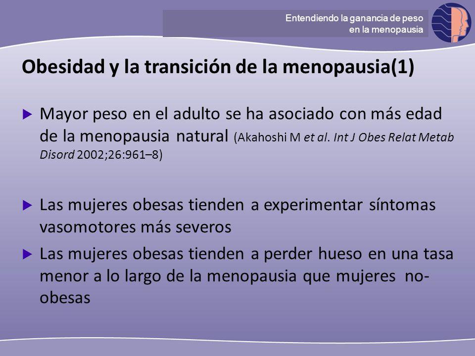 Understanding ganancia de peso at menopause Obesidad y la transición de la menopausia(1) Mayor peso en el adulto se ha asociado con más edad de la men