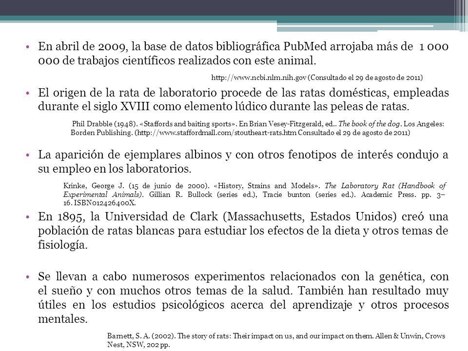 En abril de 2009, la base de datos bibliográfica PubMed arrojaba más de 1 000 000 de trabajos científicos realizados con este animal.