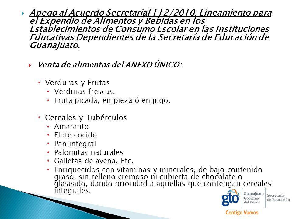 Apego al Acuerdo Secretarial 112/2010. Lineamiento para el Expendio de Alimentos y Bebidas en los Establecimientos de Consumo Escolar en las Instituci