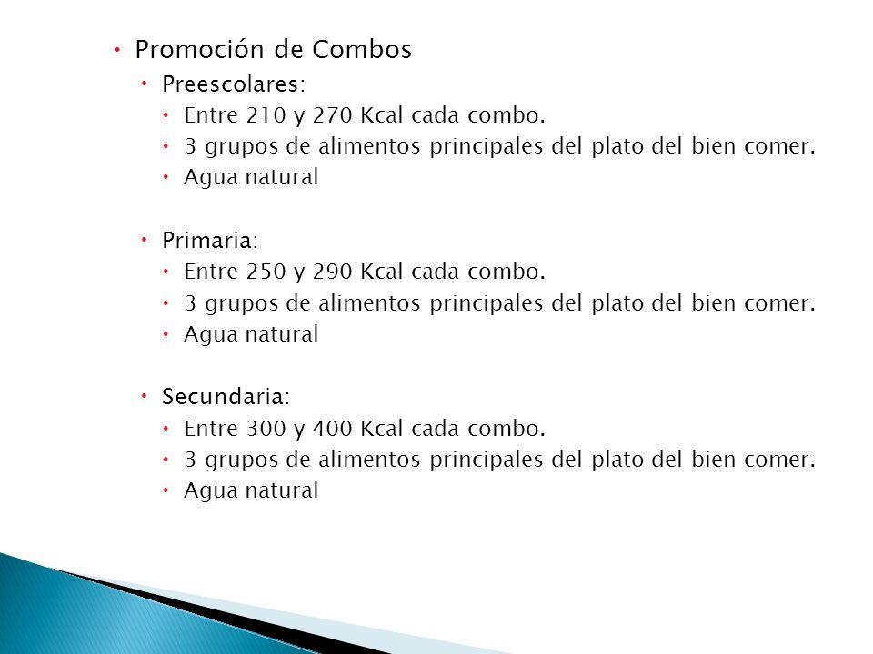 Promoción de Combos Preescolares: Entre 210 y 270 Kcal cada combo. 3 grupos de alimentos principales del plato del bien comer. Agua natural Primaria: