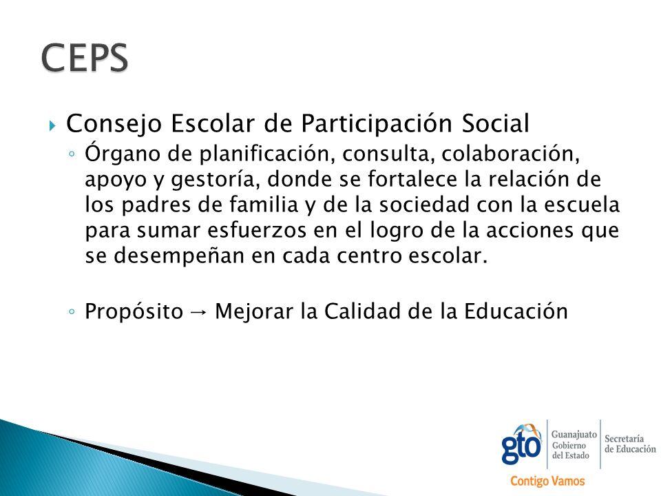 Consejo Escolar de Participación Social Órgano de planificación, consulta, colaboración, apoyo y gestoría, donde se fortalece la relación de los padre