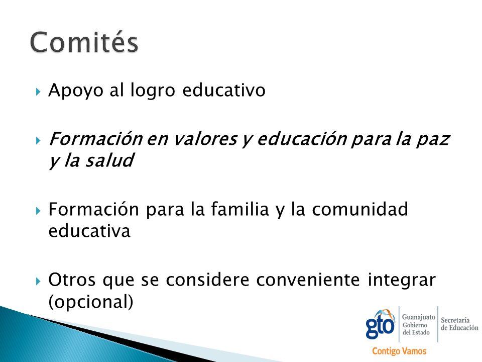 Apoyo al logro educativo Formación en valores y educación para la paz y la salud Formación para la familia y la comunidad educativa Otros que se consi