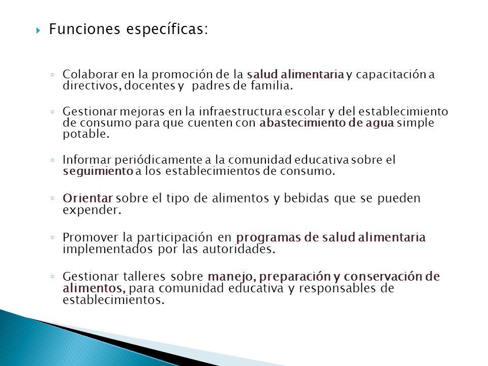 Funciones específicas: Colaborar en la promoción de la salud alimentaria y capacitación a directivos, docentes y padres de familia. Gestionar mejoras