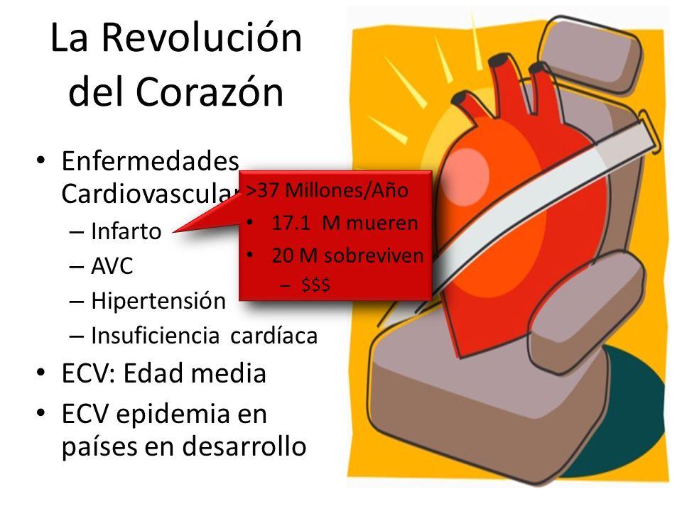Enfermedades Cardiovasculares: – Infarto – AVC – Hipertensión – Insuficiencia cardíaca ECV: Edad media ECV epidemia en países en desarrollo >37 Millon
