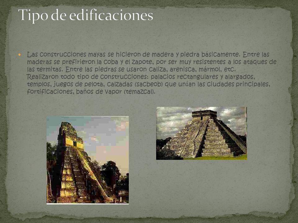 Las construcciones mayas se hicieron de madera y piedra básicamente. Entre las maderas se prefirieron la coba y el zapote, por ser muy resistentes a l