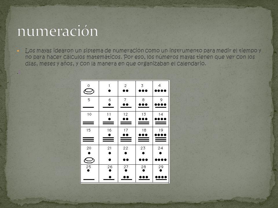 Los mayas idearon un sistema de numeración como un instrumento para medir el tiempo y no para hacer cálculos matemáticos. Por eso, los números mayas t