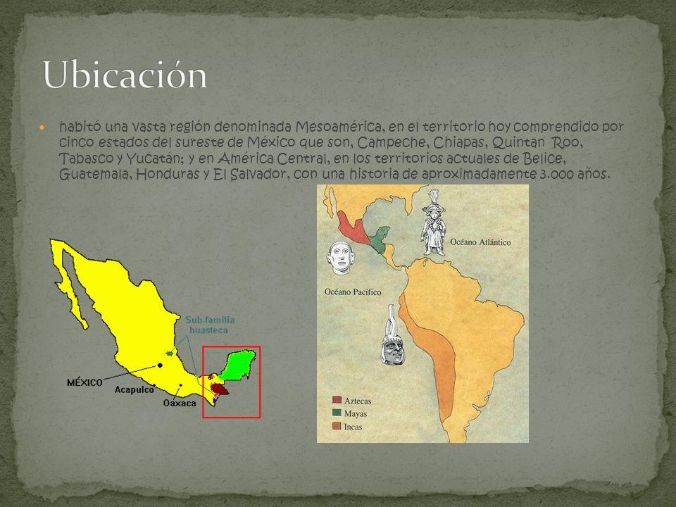 habitó una vasta región denominada Mesoamérica, en el territorio hoy comprendido por cinco estados del sureste de México que son, Campeche, Chiapas, Q