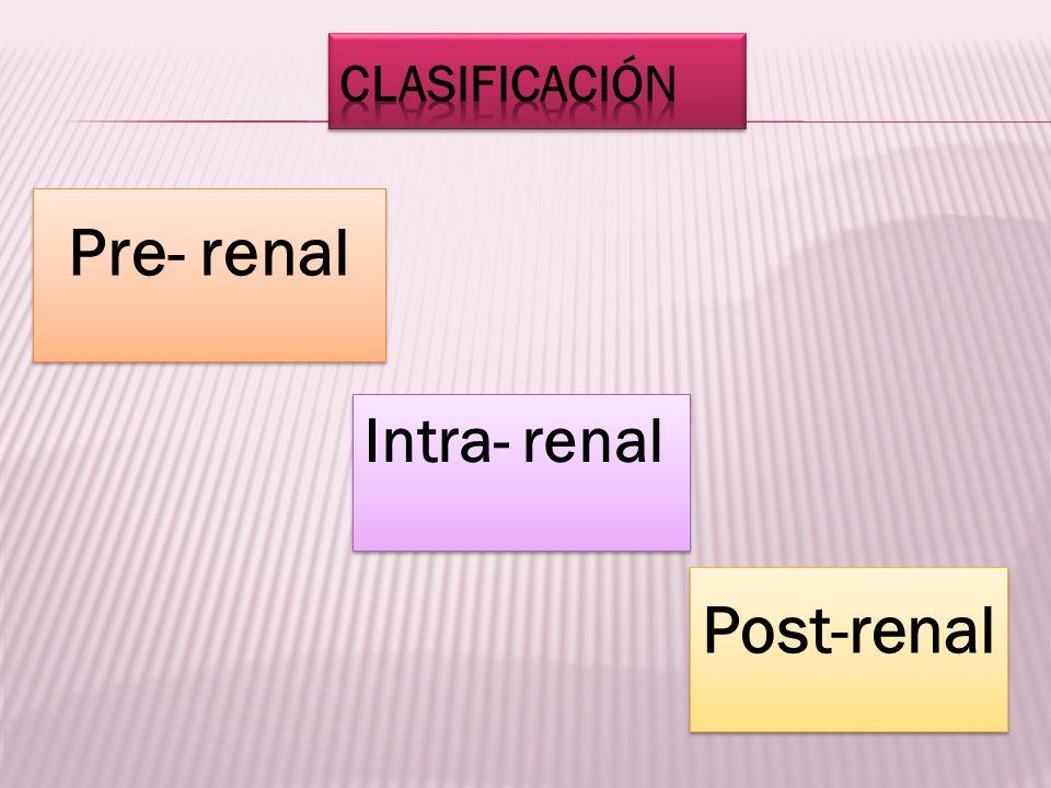 Pre- renal Intra- renal Post-renal