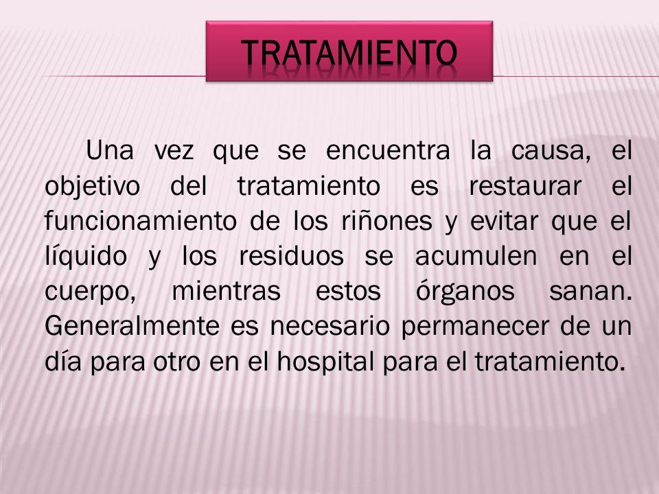 Una vez que se encuentra la causa, el objetivo del tratamiento es restaurar el funcionamiento de los riñones y evitar que el líquido y los residuos se