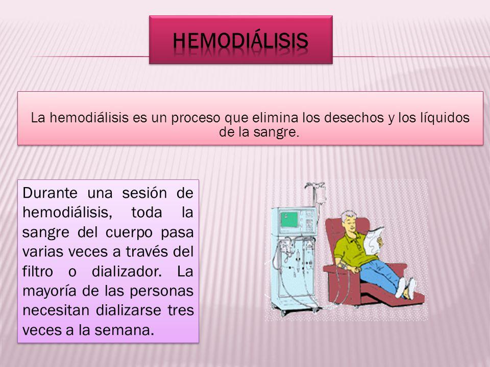 La hemodiálisis es un proceso que elimina los desechos y los líquidos de la sangre. La hemodiálisis es un proceso que elimina los desechos y los líqui