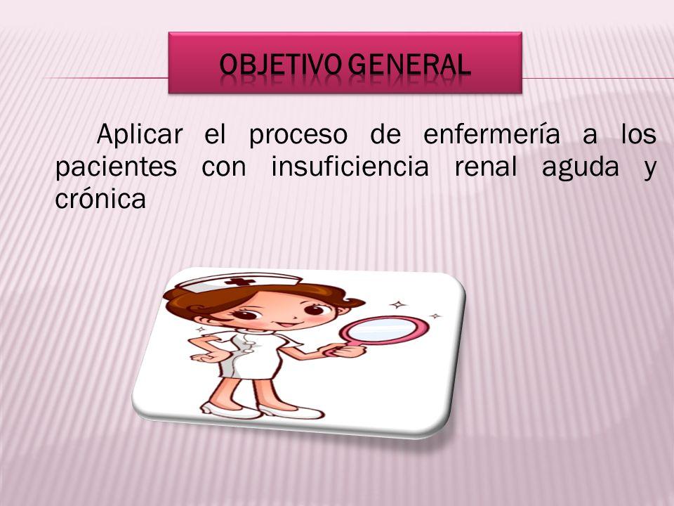 Aplicar el proceso de enfermería a los pacientes con insuficiencia renal aguda y crónica