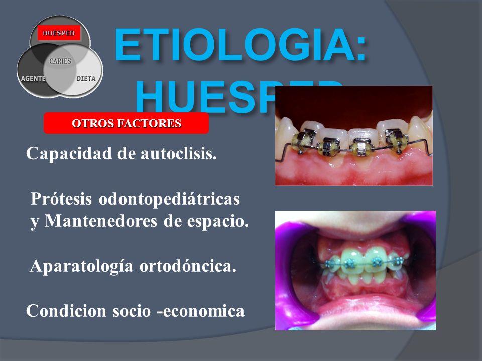 ETIOLOGIA: HUESPED HUESPEDHUESPED OTROS FACTORES Capacidad de autoclisis. Prótesis odontopediátricas y Mantenedores de espacio. Aparatología ortodónci