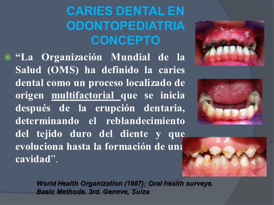 CARIES DENTAL EN ODONTOPEDIATRIA CONCEPTO La Organización Mundial de la Salud (OMS) ha definido la caries dental como un proceso localizado de origen