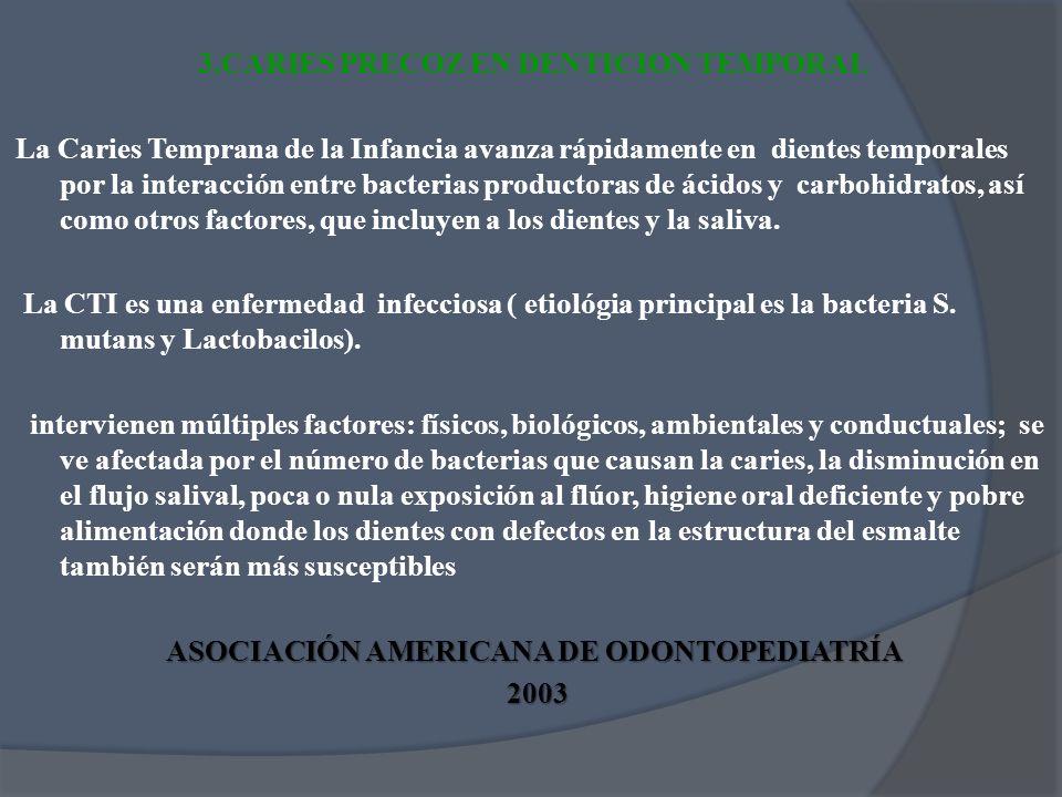 3.CARIES PRECOZ EN DENTICION TEMPORAL La Caries Temprana de la Infancia avanza rápidamente en dientes temporales por la interacción entre bacterias pr
