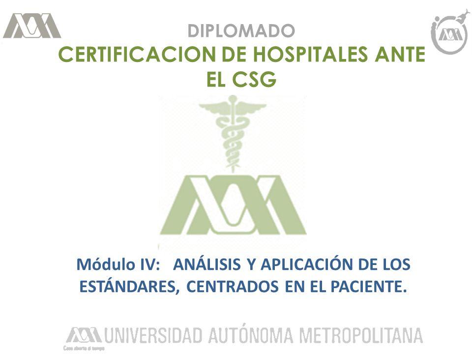 DIPLOMADO CERTIFICACION DE HOSPITALES ANTE EL CSG Módulo IV: ANÁLISIS Y APLICACIÓN DE LOS ESTÁNDARES, CENTRADOS EN EL PACIENTE.