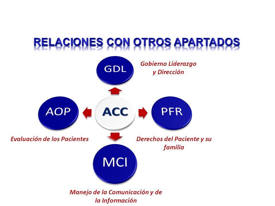 Gobierno Liderazgo y Dirección Derechos del Paciente y su familia Manejo de la Comunicación y de la Información Evaluación de los Pacientes