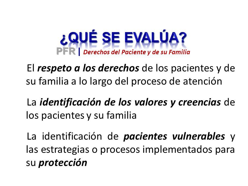 El respeto a los derechos de los pacientes y de su familia a lo largo del proceso de atención La identificación de los valores y creencias de los pacientes y su familia La identificación de pacientes vulnerables y las estrategias o procesos implementados para su protección PFR PFR | Derechos del Paciente y de su Familia