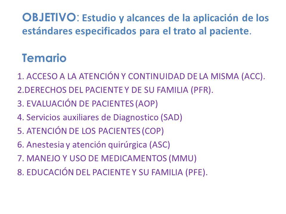 OBJETIVO : Estudio y alcances de la aplicación de los estándares especificados para el trato al paciente. Temario 1. ACCESO A LA ATENCIÓN Y CONTINUIDA