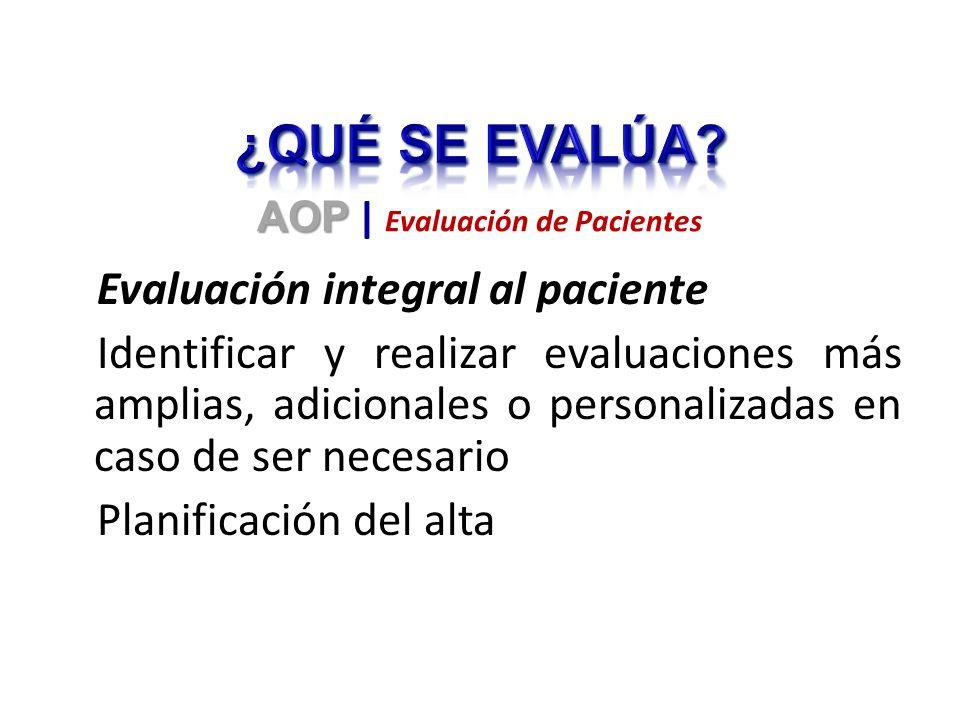 Evaluación integral al paciente Identificar y realizar evaluaciones más amplias, adicionales o personalizadas en caso de ser necesario Planificación d