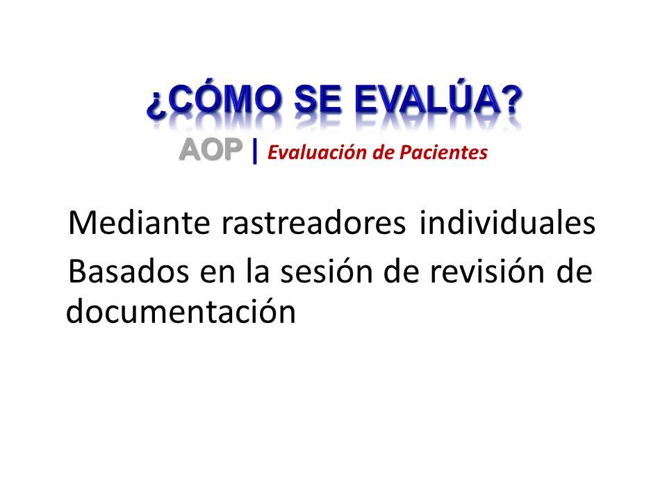 Mediante rastreadores individuales Basados en la sesión de revisión de documentación AOP AOP | Evaluación de Pacientes