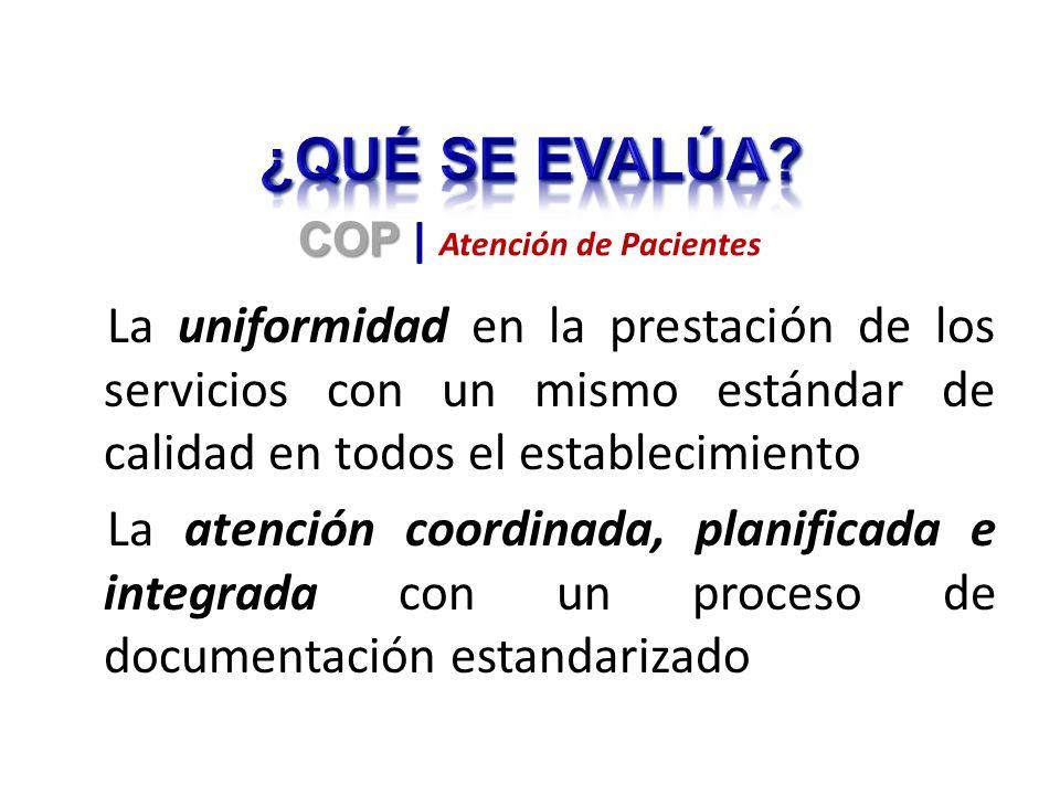 La uniformidad en la prestación de los servicios con un mismo estándar de calidad en todos el establecimiento La atención coordinada, planificada e integrada con un proceso de documentación estandarizado COP COP | Atención de Pacientes
