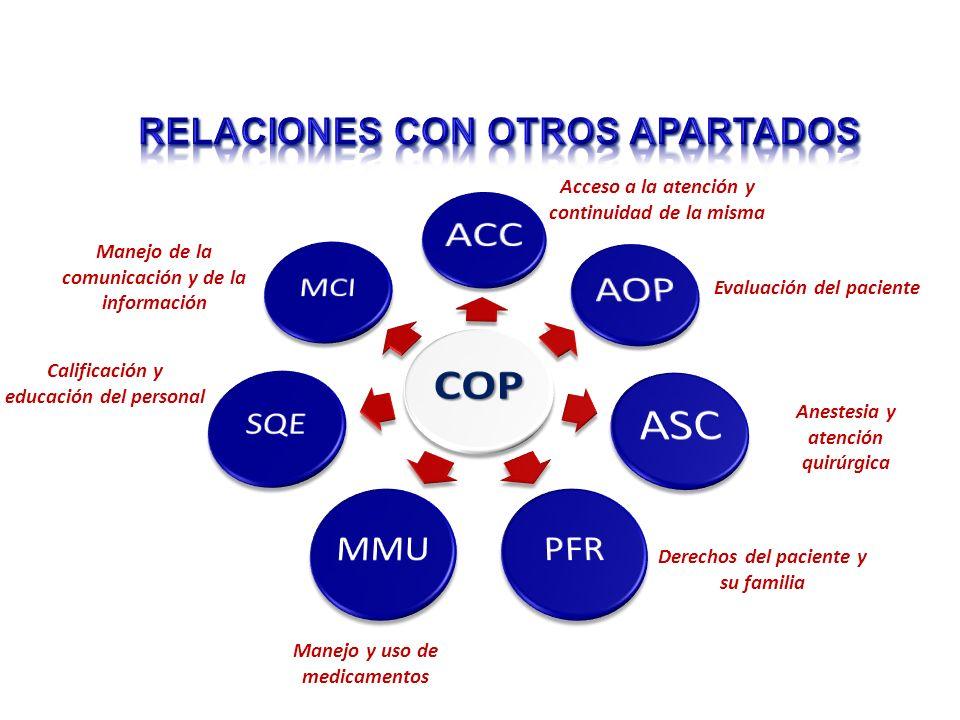 Acceso a la atención y continuidad de la misma Evaluación del paciente Anestesia y atención quirúrgica Derechos del paciente y su familia Manejo y uso
