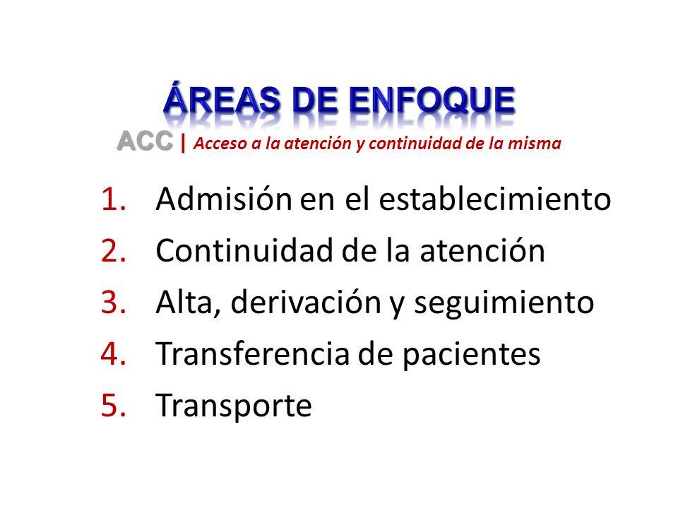 1.Admisión en el establecimiento 2.Continuidad de la atención 3.Alta, derivación y seguimiento 4.Transferencia de pacientes 5.Transporte ACC ACC | Acceso a la atención y continuidad de la misma