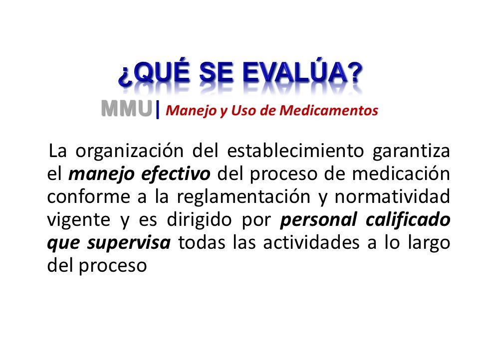 La organización del establecimiento garantiza el manejo efectivo del proceso de medicación conforme a la reglamentación y normatividad vigente y es di