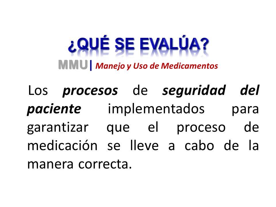 Los procesos de seguridad del paciente implementados para garantizar que el proceso de medicación se lleve a cabo de la manera correcta. MMU MMU | Man