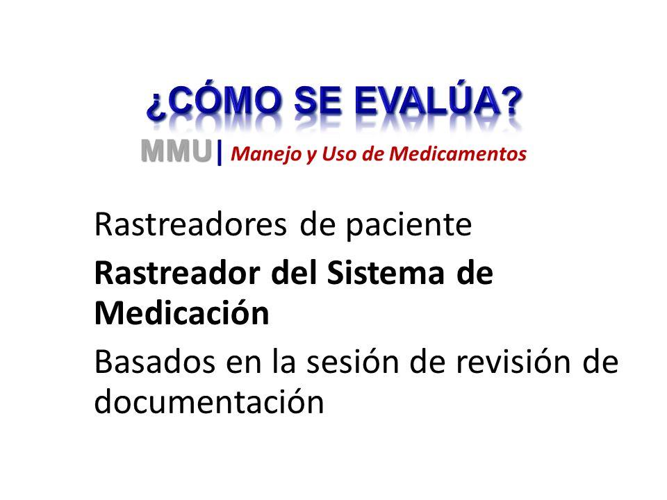 Rastreadores de paciente Rastreador del Sistema de Medicación Basados en la sesión de revisión de documentación MMU MMU | Manejo y Uso de Medicamentos