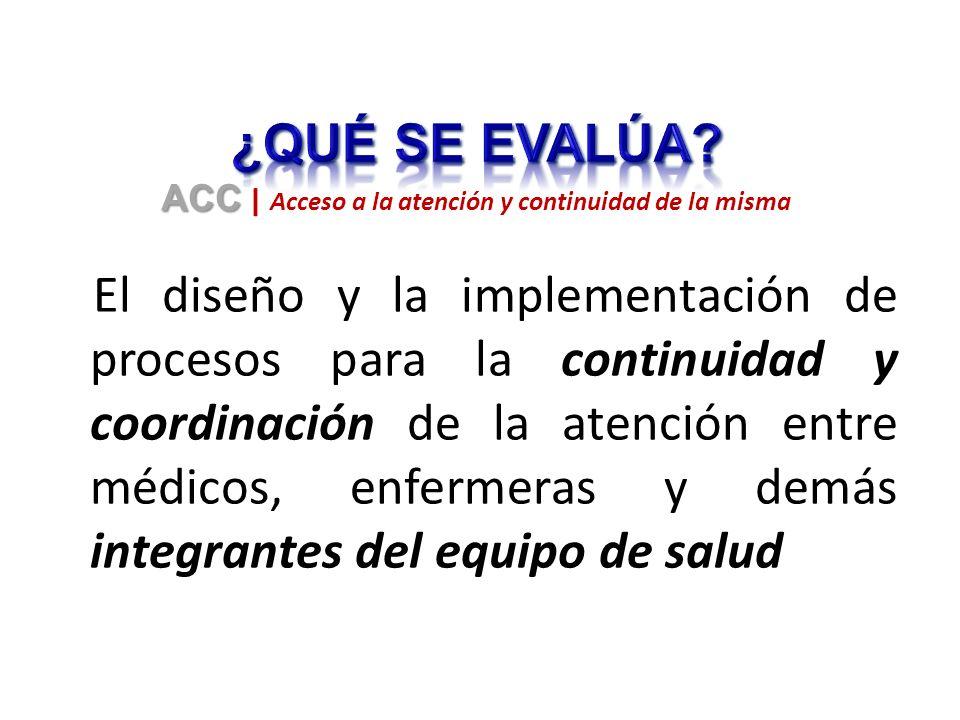 El diseño y la implementación de procesos para la continuidad y coordinación de la atención entre médicos, enfermeras y demás integrantes del equipo de salud ACC ACC | Acceso a la atención y continuidad de la misma