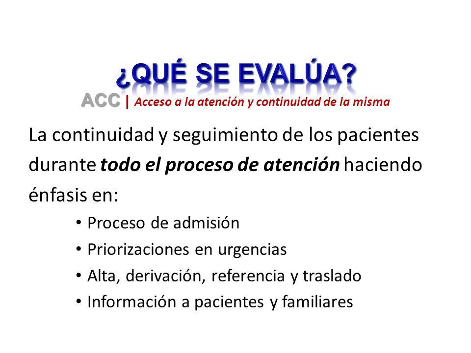 La continuidad y seguimiento de los pacientes durante todo el proceso de atención haciendo énfasis en: Proceso de admisión Priorizaciones en urgencias