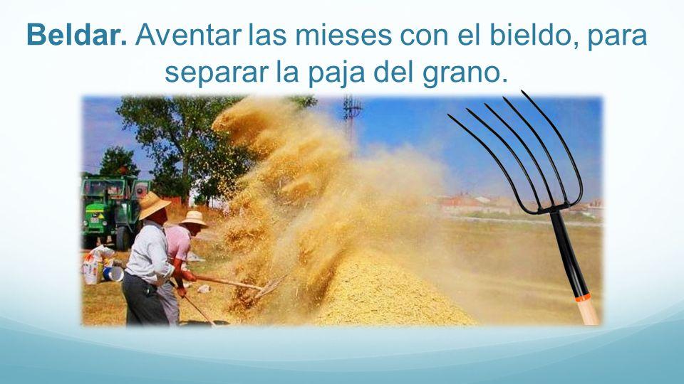 Beldar. Aventar las mieses con el bieldo, para separar la paja del grano.