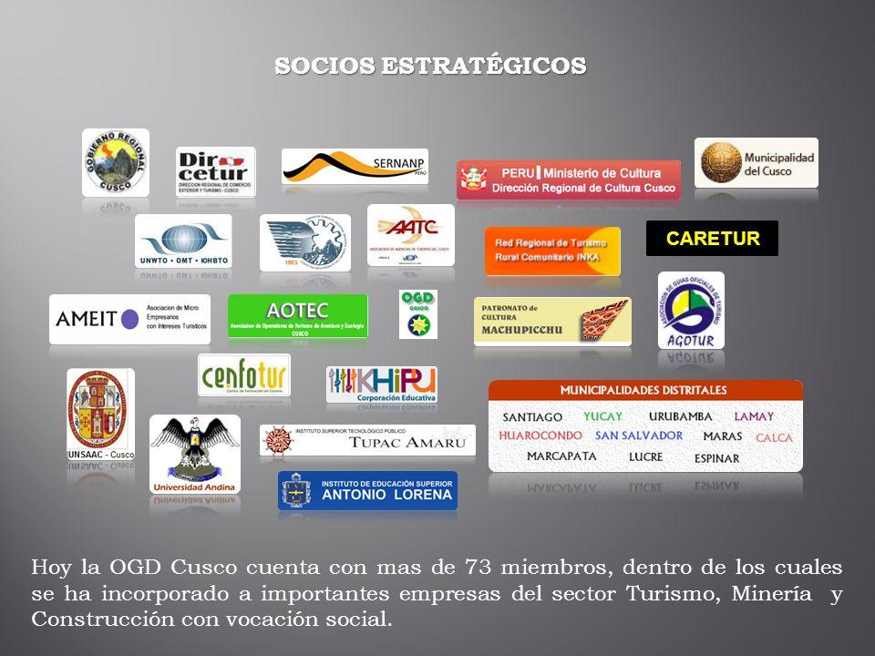 SOCIOS ESTRATÉGICOS CARETUR Hoy la OGD Cusco cuenta con mas de 73 miembros, dentro de los cuales se ha incorporado a importantes empresas del sector T