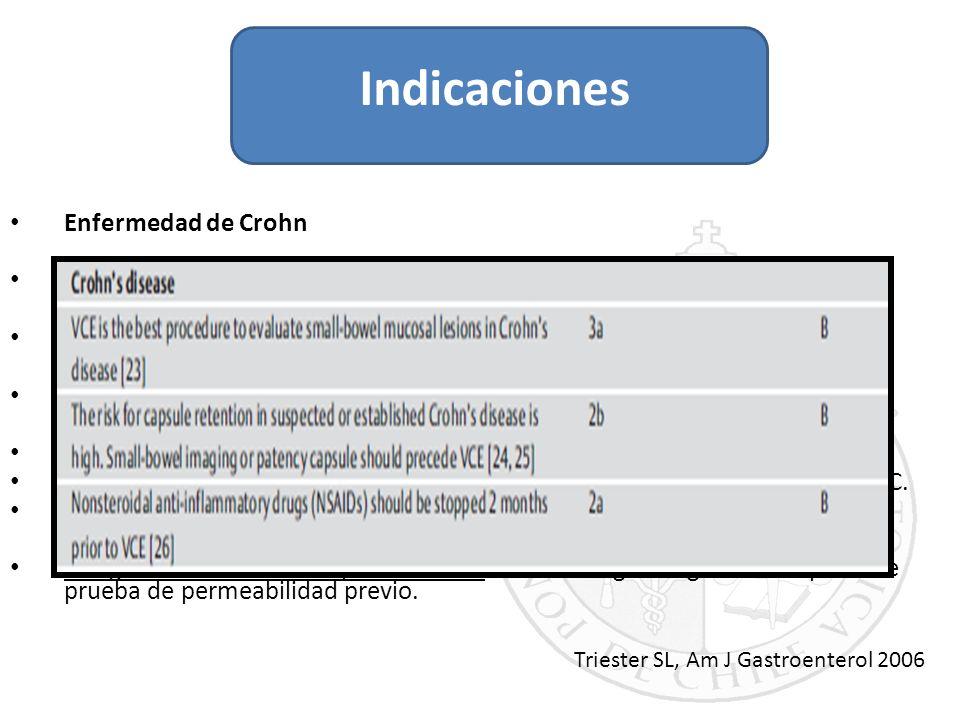 Enfermedad de Crohn Objetivos: diagnóstico, extensión, actividad. Sospecha de EC no abordable por colonoscopía/EDA. Colitis indeterminada, CU con mani