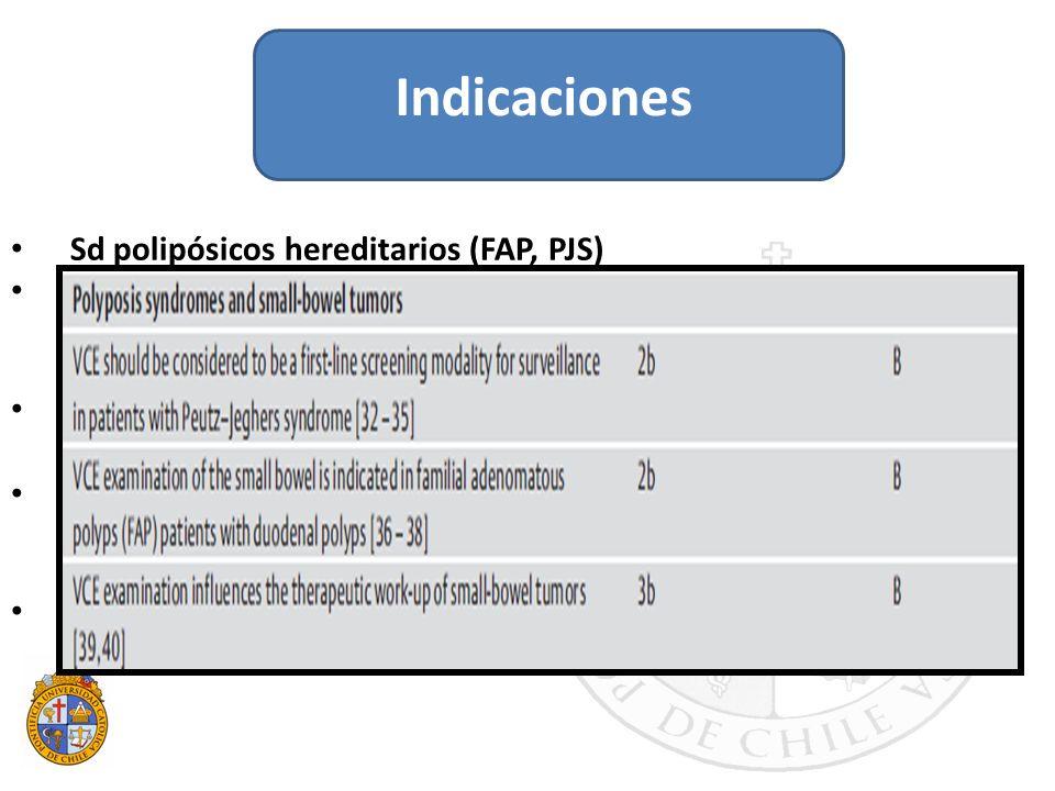 Sd polipósicos hereditarios (FAP, PJS) Se recomienda vigilancia de I delgado. Mayor riesgo: pacientes con pólipos duodeno. Pólipos mayor tamaño: anemi