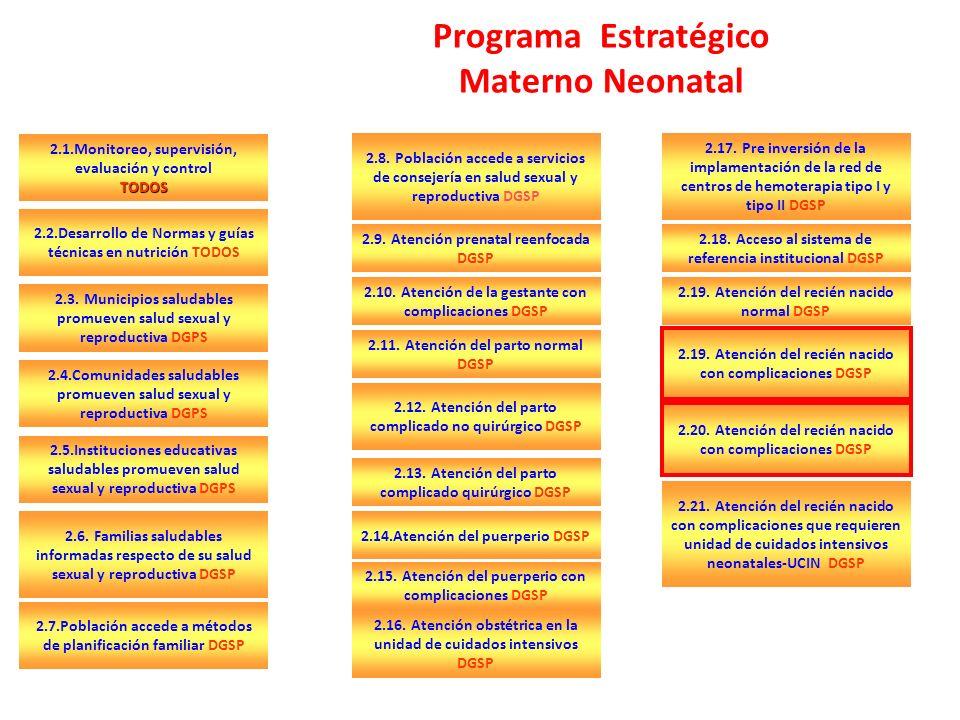 Programa Estratégico Materno Neonatal 2.1.Monitoreo, supervisión, evaluación y controlTODOS 2.7.Población accede a métodos de planificación familiar DGSP 2.2.Desarrollo de Normas y guías técnicas en nutrición TODOS 2.3.