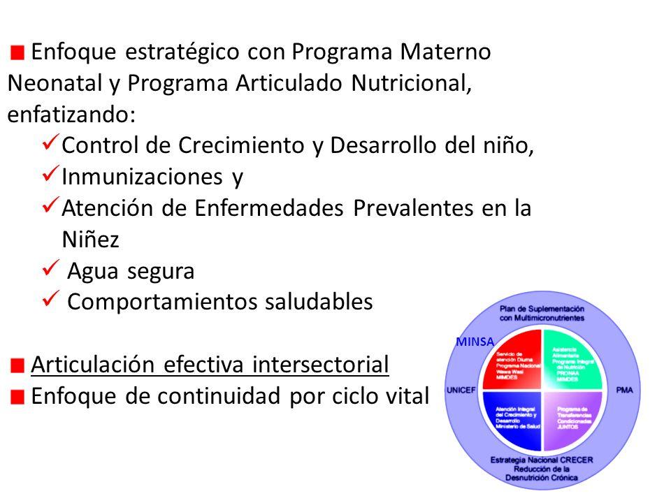 Enfoque estratégico con Programa Materno Neonatal y Programa Articulado Nutricional, enfatizando: Control de Crecimiento y Desarrollo del niño, Inmunizaciones y Atención de Enfermedades Prevalentes en la Niñez Agua segura Comportamientos saludables Articulación efectiva intersectorial Enfoque de continuidad por ciclo vital MINSA