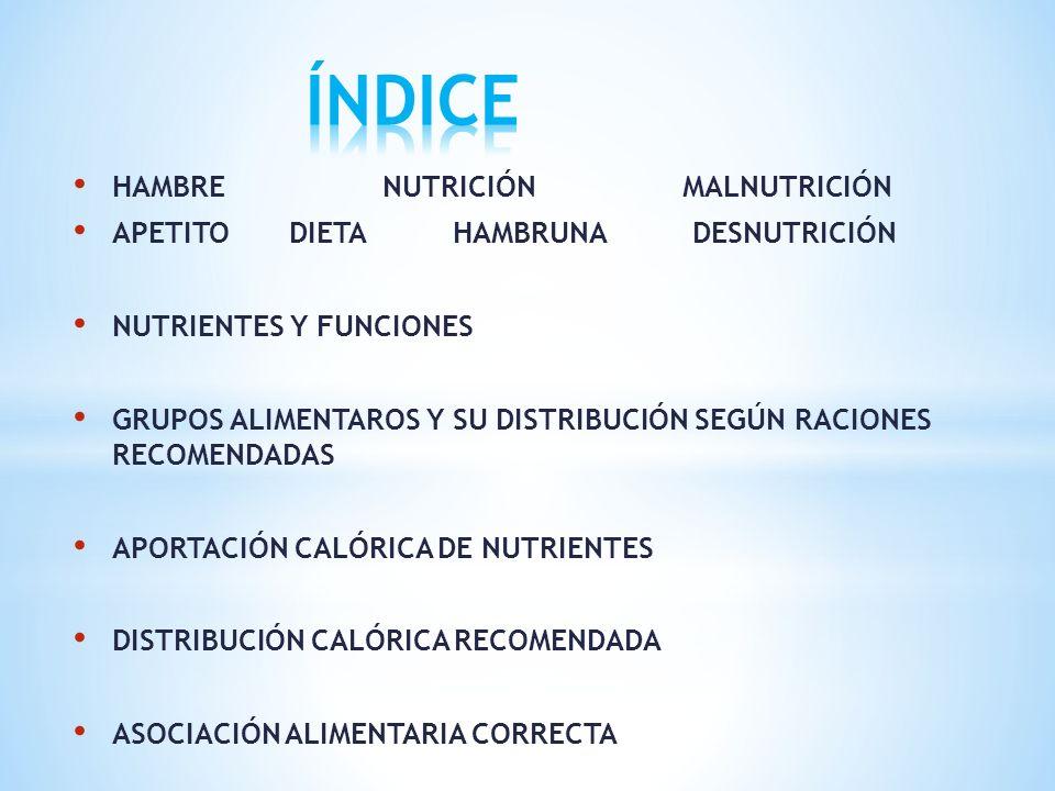 HAMBRE NUTRICIÓN MALNUTRICIÓN APETITO DIETA HAMBRUNA DESNUTRICIÓN NUTRIENTES Y FUNCIONES GRUPOS ALIMENTAROS Y SU DISTRIBUCIÓN SEGÚN RACIONES RECOMENDA