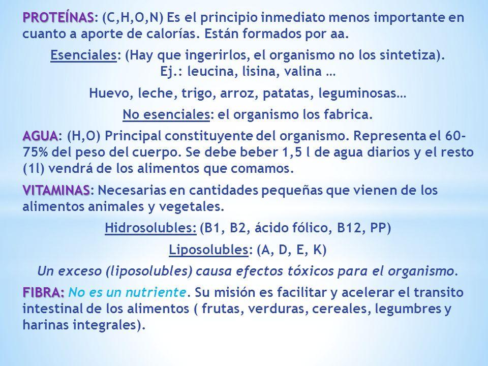 PROTEÍNAS PROTEÍNAS: (C,H,O,N) Es el principio inmediato menos importante en cuanto a aporte de calorías. Están formados por aa. Esenciales: (Hay que