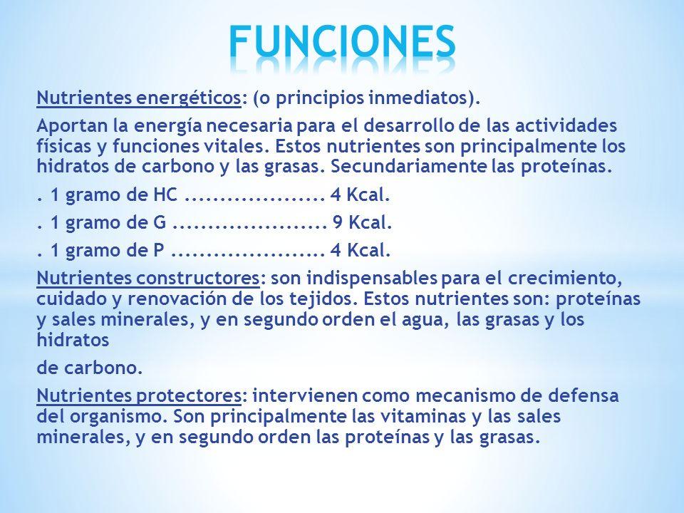 Nutrientes energéticos: (o principios inmediatos). Aportan la energía necesaria para el desarrollo de las actividades físicas y funciones vitales. Est