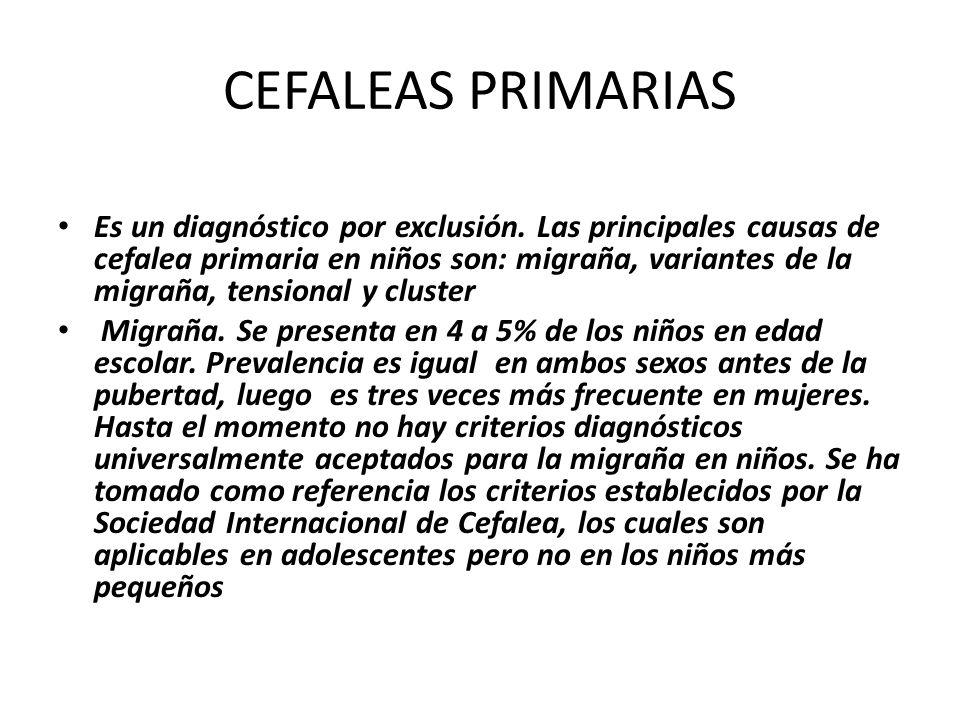 CEFALEAS PRIMARIAS Es un diagnóstico por exclusión. Las principales causas de cefalea primaria en niños son: migraña, variantes de la migraña, tension