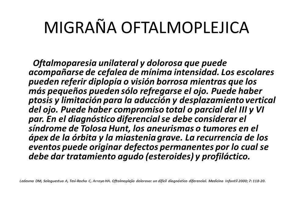 MIGRAÑA OFTALMOPLEJICA Oftalmoparesia unilateral y dolorosa que puede acompañarse de cefalea de mínima intensidad. Los escolares pueden referir diplop