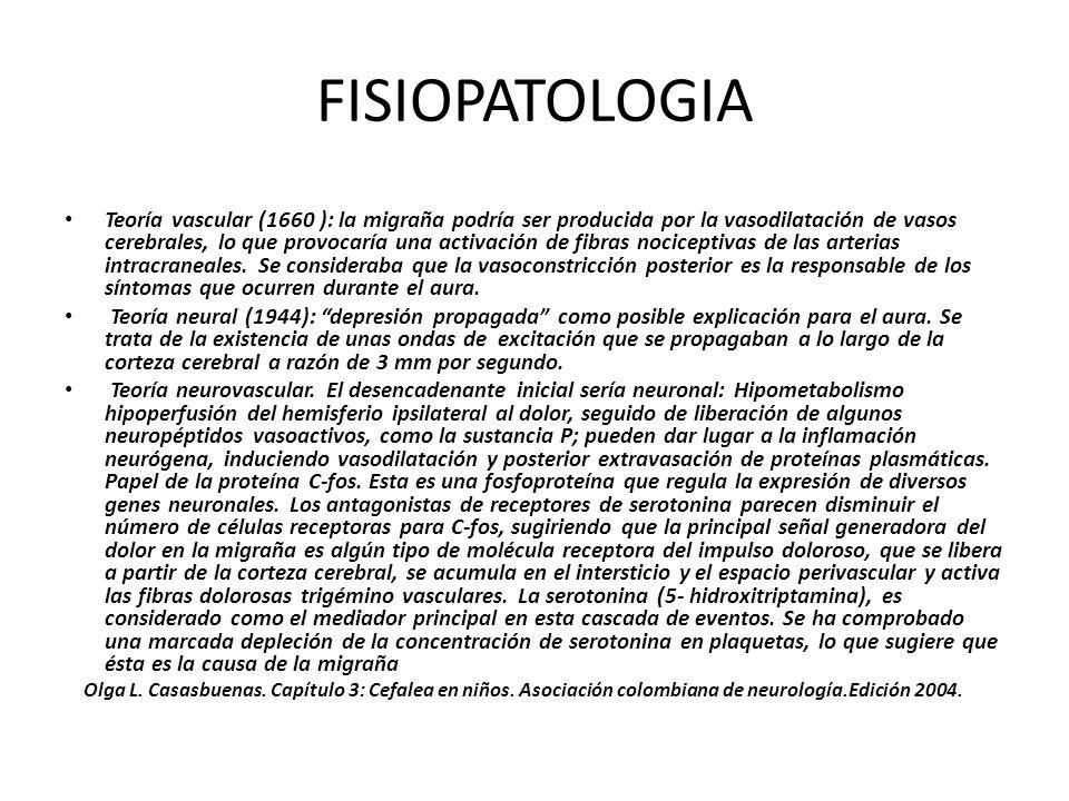 FISIOPATOLOGIA Teoría vascular (1660 ): la migraña podría ser producida por la vasodilatación de vasos cerebrales, lo que provocaría una activación de
