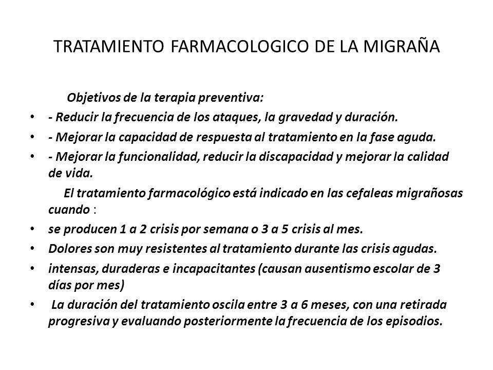 TRATAMIENTO FARMACOLOGICO DE LA MIGRAÑA Objetivos de la terapia preventiva: - Reducir la frecuencia de los ataques, la gravedad y duración. - Mejorar