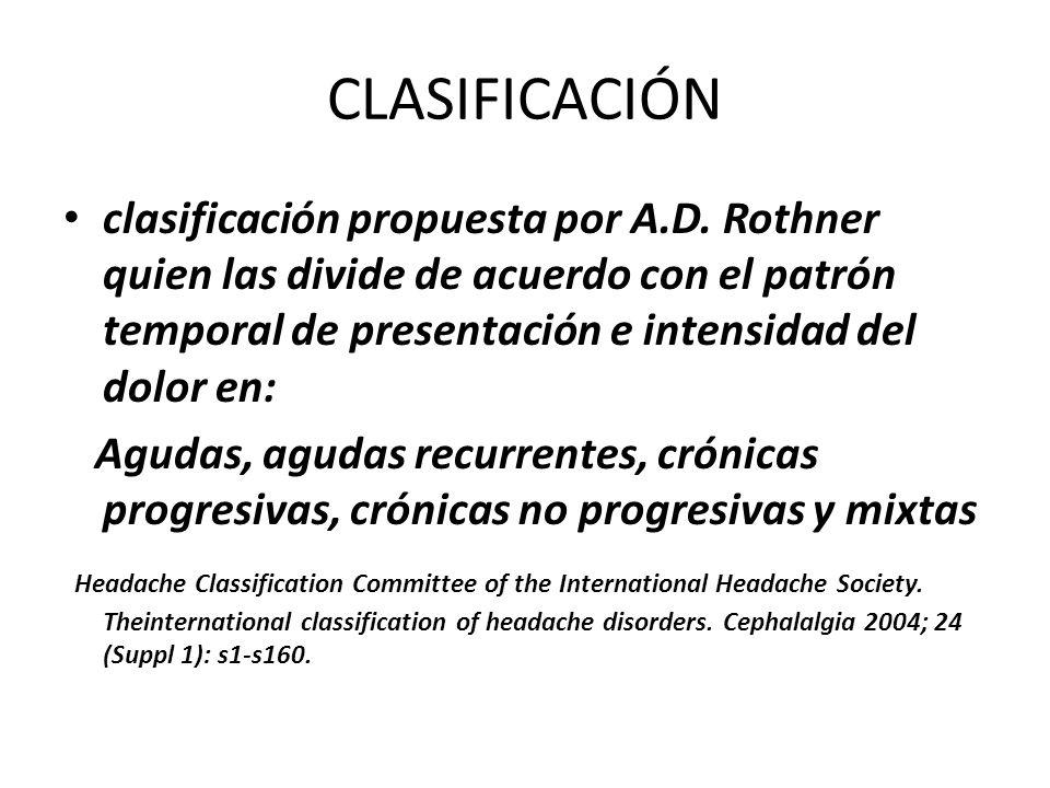 CLASIFICACIÓN clasificación propuesta por A.D. Rothner quien las divide de acuerdo con el patrón temporal de presentación e intensidad del dolor en: A