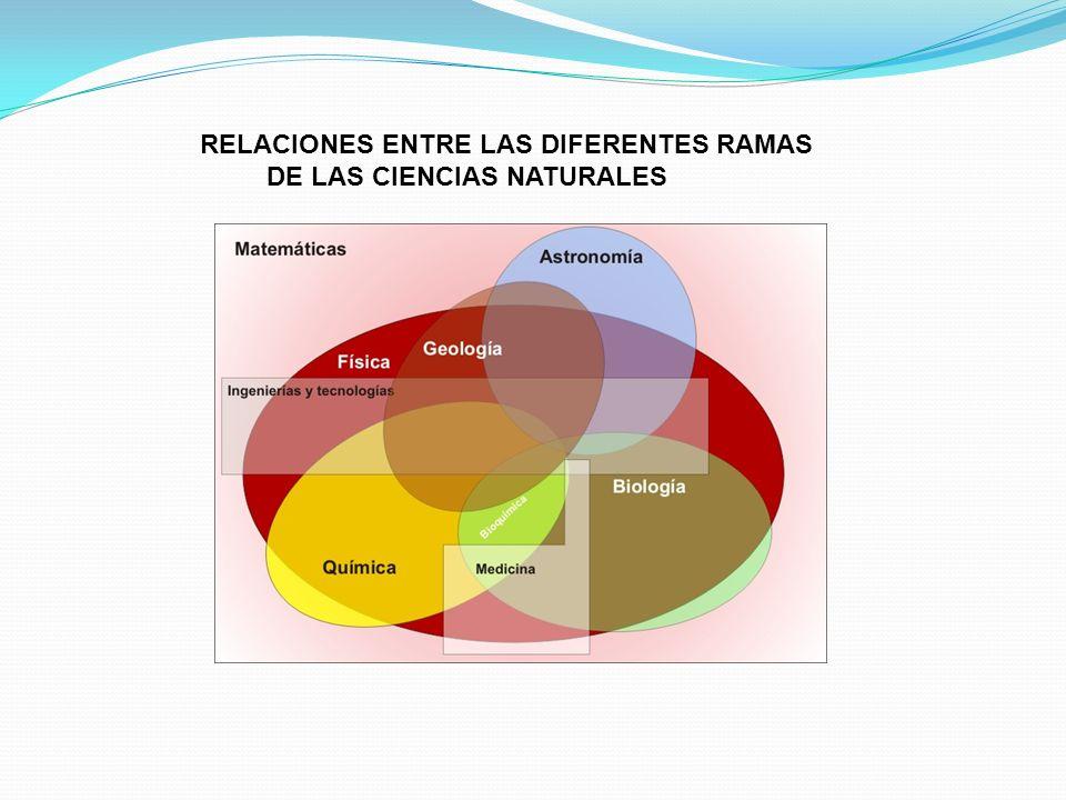 RELACIONES ENTRE LAS DIFERENTES RAMAS DE LAS CIENCIAS NATURALES