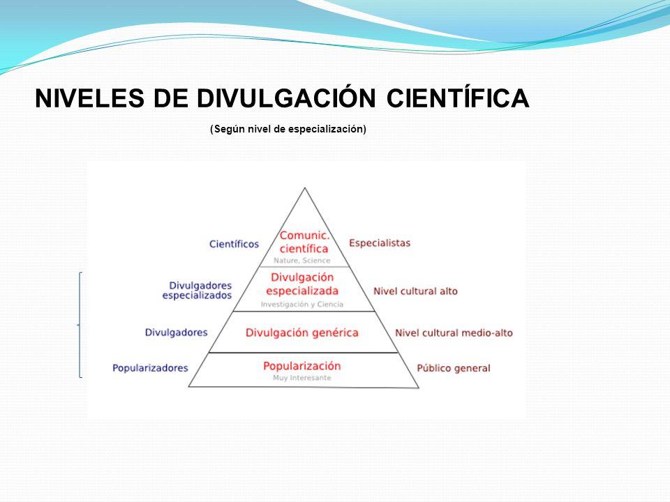 NIVELES DE DIVULGACIÓN CIENTÍFICA a).- Científica (Artículo en revista especializada) b).- Académica ( Tesis doctoral, Máster, ponencia, etc.) c).- Di