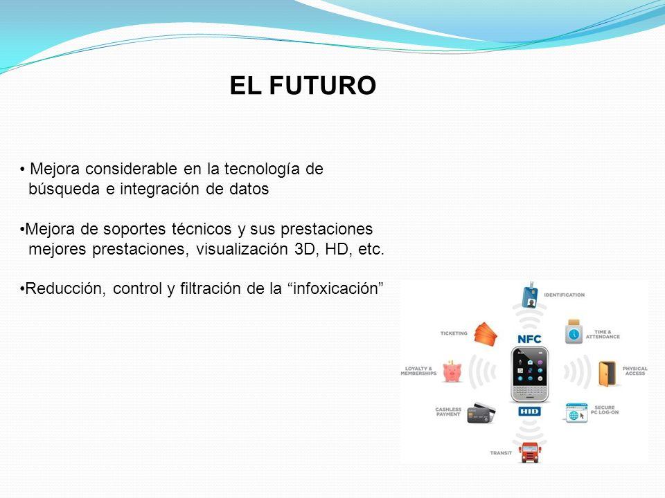 EL FUTURO Mejora considerable en la tecnología de búsqueda e integración de datos Mejora de soportes técnicos y sus prestaciones mejores prestaciones,